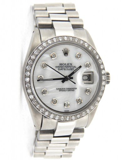Rolex Stainless Steel Datejust 1603 White MOP Diamond-7