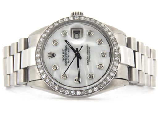 Rolex Stainless Steel Datejust 1603 White MOP Diamond-8