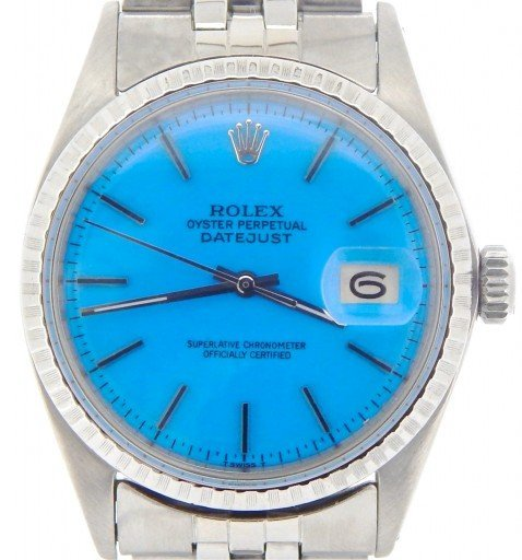 Rolex Stainless Steel Datejust 1603 Blue -1