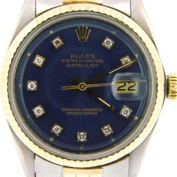 Mens Rolex Two-Tone 14K/SS Datejust Blue Diamond 1601 (SKU 3258792NMT)