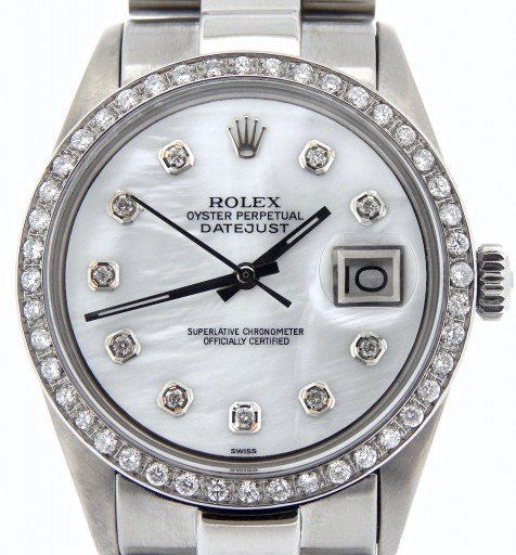 Rolex Stainless Steel Datejust 1603 White MOP Diamond-1