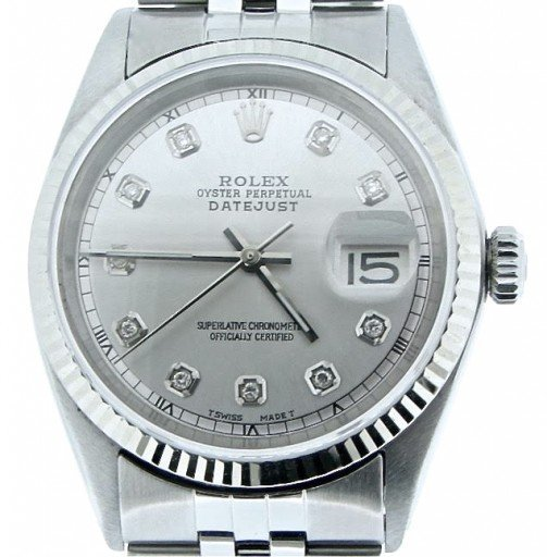 Rolex Stainless Steel Datejust 1601 Silver Diamond-1
