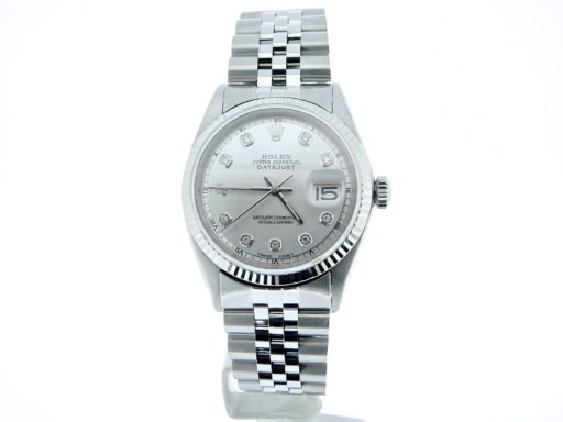 Rolex Stainless Steel Datejust 1601 Silver Diamond-4