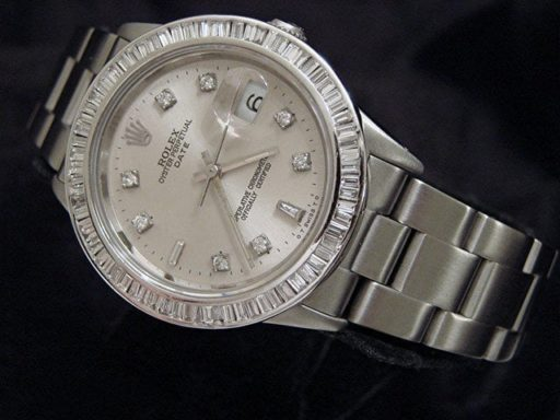 Rolex Stainless Steel Date 15200 Silver Diamond-6