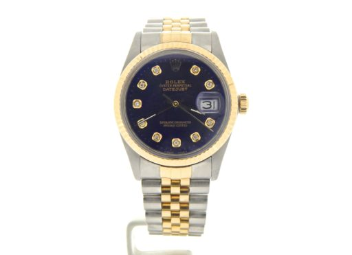Rolex Two-Tone Datejust 16013 Blue Diamond-8