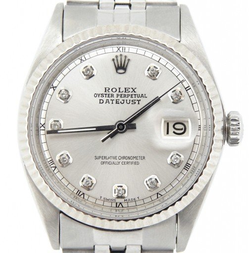 Rolex Stainless Steel Datejust 1601 Silver Diamond-8