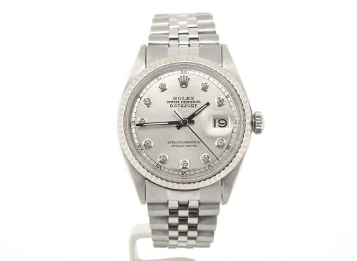 Rolex Stainless Steel Datejust 1601 Silver Diamond-9