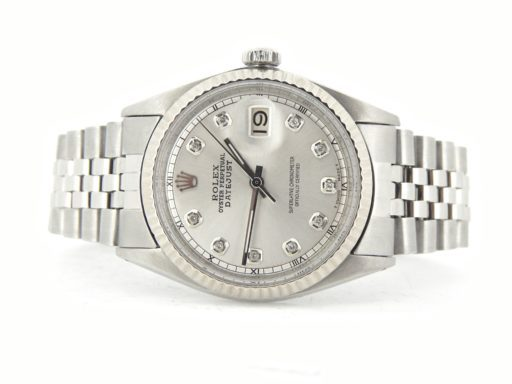 Rolex Stainless Steel Datejust 1601 Silver Diamond-7