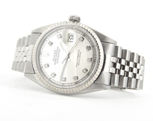 Rolex Stainless Steel Datejust 1601 Silver Diamond-6