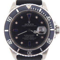Mens Rolex Stainless Steel Submariner Black Diamond 16610 (SKU A806894MT)
