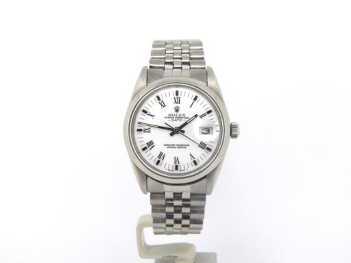Rolex Stainless Steel Date 15000 White Roman-8