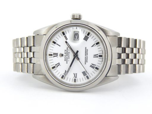 Rolex Stainless Steel Date 15000 White Roman-7