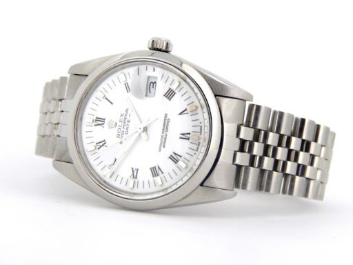 Rolex Stainless Steel Date 15000 White Roman-6