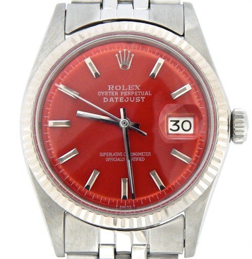 Rolex Stainless Steel Datejust 1601 Red -1