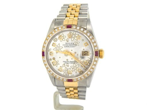 Rolex Two-Tone Datejust 16013 Silver Floral Diamond-4