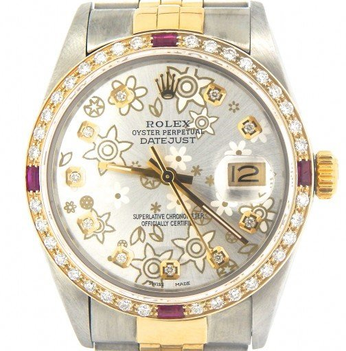 Rolex Two-Tone Datejust 16013 Silver Floral Diamond-2