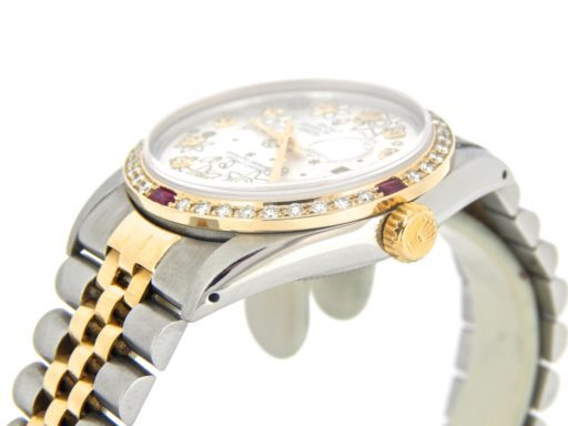 Rolex Two-Tone Datejust 16013 Silver Floral Diamond-3