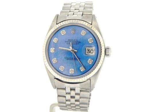 Rolex Stainless Steel Datejust 1601 Blue Diamond-7