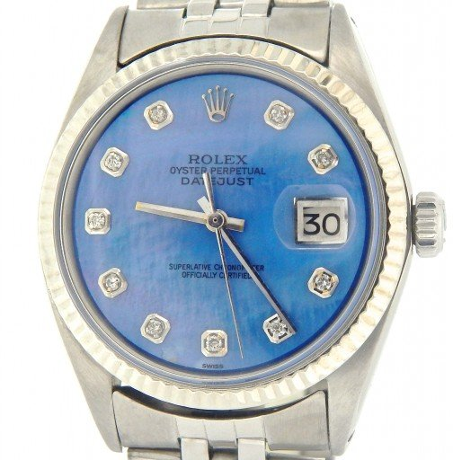 Rolex Stainless Steel Datejust 1601 Blue Diamond-1