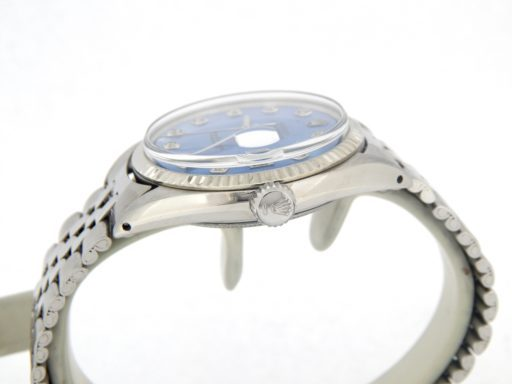 Rolex Stainless Steel Datejust 1601 Blue Diamond-5
