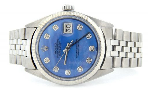 Rolex Stainless Steel Datejust 1601 Blue Diamond-6