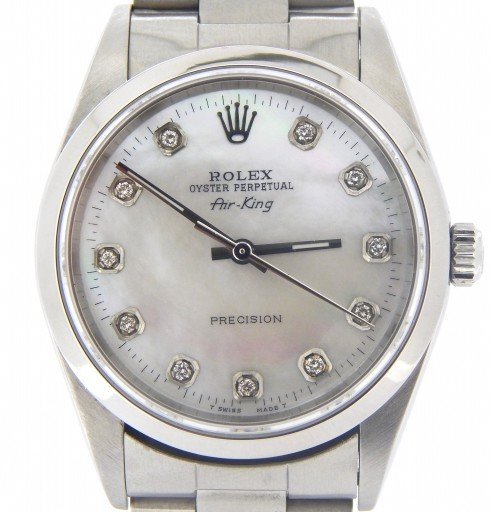 Rolex Stainless Steel Air-King 14000 White MOP DIamond-1