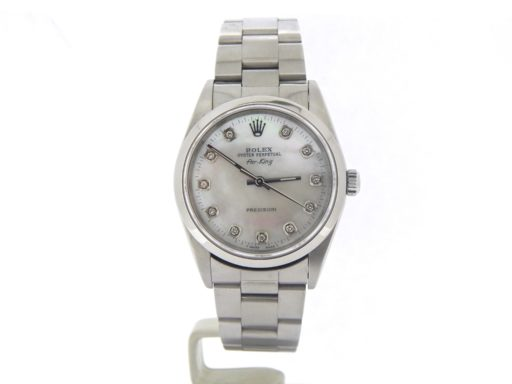 Rolex Stainless Steel Air-King 14000 White MOP DIamond-8