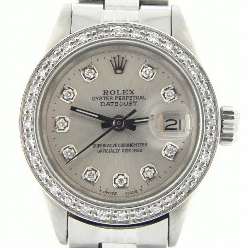 Rolex Stainless Steel Datejust 6916 Silver Diamond-1