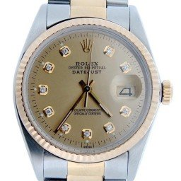 Mens Rolex Two-Tone 18K/SS Datejust Champagne Diamond 16013 (SKU DJ4471MT)