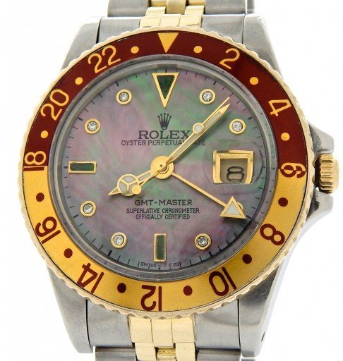 Rolex Two-Tone GMT-Master 16753 Brown Rootbeer Diamond-1