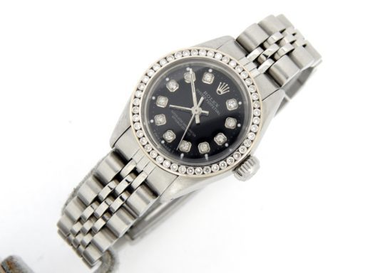 Rolex Stainless Steel Oyster Perpetual 6718 Black Diamond-5