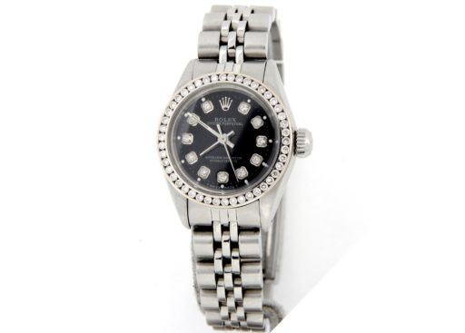 Rolex Stainless Steel Oyster Perpetual 6718 Black Diamond-6