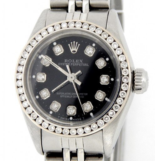 Rolex Stainless Steel Oyster Perpetual 6718 Black Diamond-1