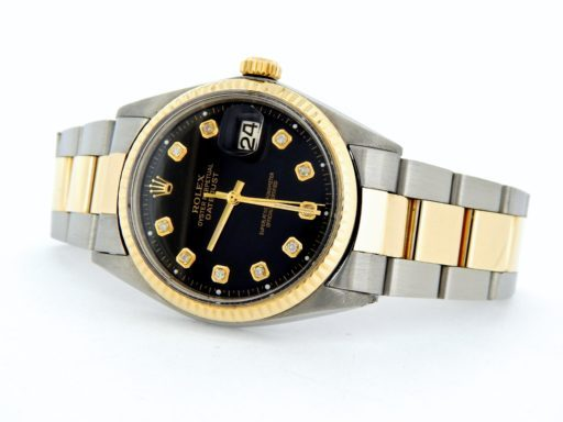 Rolex Two-Tone Datejust 1601 Black Diamond-7