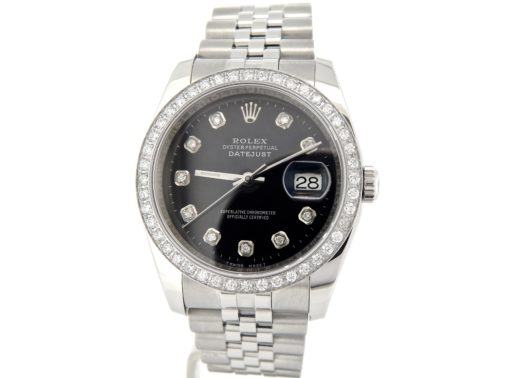 Rolex Stainless Steel Datejust 116200 Black Diamond-8