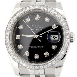 Mens Rolex Stainless Steel Datejust Black Diamond 116200 (SKU M116200MT)