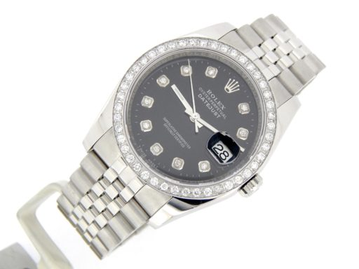 Rolex Stainless Steel Datejust 116200 Black Diamond-7