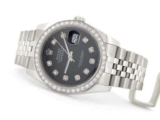 Rolex Stainless Steel Datejust 116200 Black Diamond-6