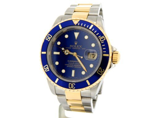Rolex Two-Tone Submariner 16613 Blue -8