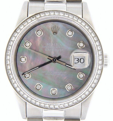 Rolex Stainless Steel Datejust 1603 Tahitian MOP Diamond-1