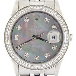Mens Rolex Stainless Steel Datejust Tahitian MOP Diamond 1603