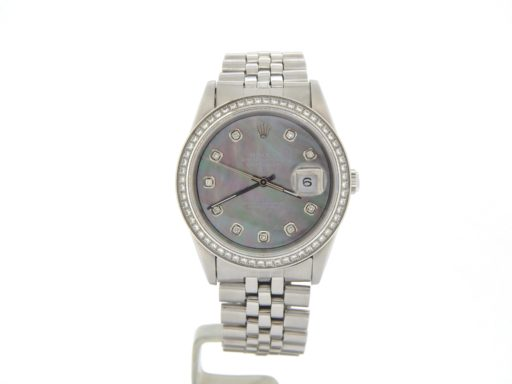Rolex Stainless Steel Datejust 1603 Tahitian MOP Diamond-10