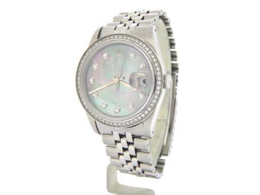 Rolex Stainless Steel Datejust 1603 Tahitian MOP Diamond-7