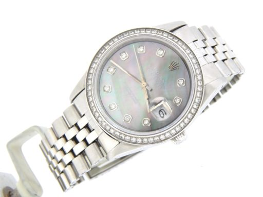Rolex Stainless Steel Datejust 1603 Tahitian MOP Diamond-5