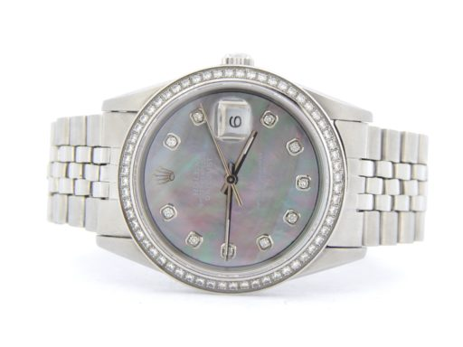 Rolex Stainless Steel Datejust 1603 Tahitian MOP Diamond-9