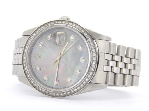 Rolex Stainless Steel Datejust 1603 Tahitian MOP Diamond-8