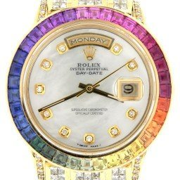 Mens Rolex 18K Gold Day-Date President Full Diamond Rainbow Sapphire 18238