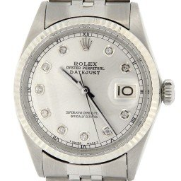 Mens Rolex Stainless Steel Datejust Silver Diamond 1601