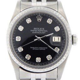 Mens Rolex Stainless Steel Datejust Black Diamond 1603 (SKU 1639357NMT)