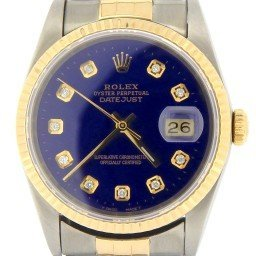 Mens Rolex Two-Tone 18K/SS Datejust Blue Diamond 16233
